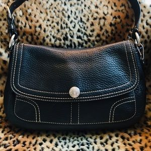 COACH Black Leather with White Stitching Bag